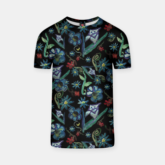 Imagen en miniatura de Watercolor Flowers On Black T-shirt, Live Heroes