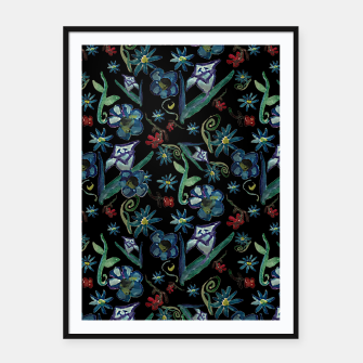 Imagen en miniatura de Watercolor Flowers On Black Framed poster, Live Heroes