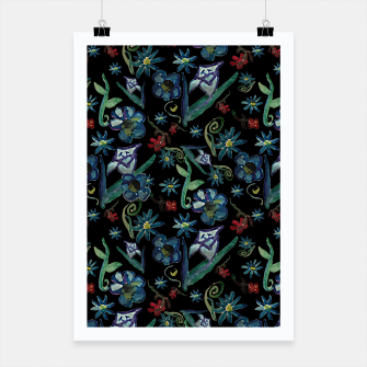 Imagen en miniatura de Watercolor Flowers On Black Poster, Live Heroes