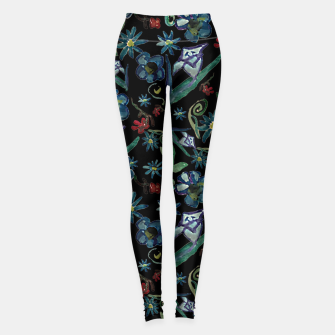 Imagen en miniatura de Watercolor Flowers On Black Leggings, Live Heroes