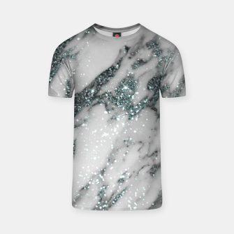 Thumbnail image of Classic White Marble Light Blue Glitter Glam #1 (Faux Glitter) #marble #decor #art T-Shirt, Live Heroes