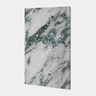 Imagen en miniatura de Classic White Marble Light Blue Glitter Glam #1 (Faux Glitter) #marble #decor #art Canvas, Live Heroes
