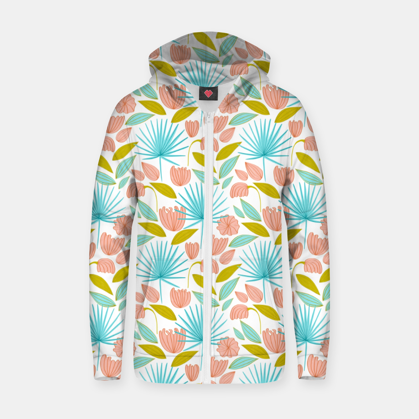 Image of Divine Floral Zip up hoodie - Live Heroes
