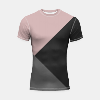 Miniaturka Dusty Blush meets Charcoal & Gray Geometric #1 #minimal #decor #art Shortsleeve rashguard, Live Heroes