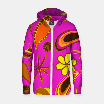 Thumbnail image of Vintage diversity on purple Sudadera con capucha y cremallera , Live Heroes