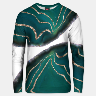 Miniaturka Green Blue Agate Gold Glitter Glam #1 #gem #decor #art  Unisex sweatshirt, Live Heroes