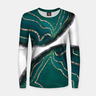 Miniaturka Green Blue Agate Gold Glitter Glam #1 #gem #decor #art  Frauen sweatshirt, Live Heroes