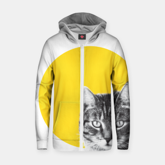 Miniatur Cat stare Zip up hoodie, Live Heroes