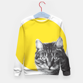 Cat stare Kid's sweater Bild der Miniatur