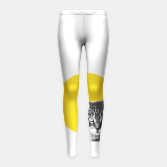 Cat stare Girl's leggings Bild der Miniatur