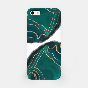 Miniaturka Green Blue Agate Gold Glitter Glam #1 #gem #decor #art  iPhone-Hülle, Live Heroes