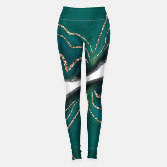 Miniaturka Green Blue Agate Gold Glitter Glam #1 #gem #decor #art  Leggings, Live Heroes