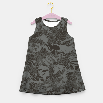 Miniatur Big waves Dark Girl's summer dress, Live Heroes