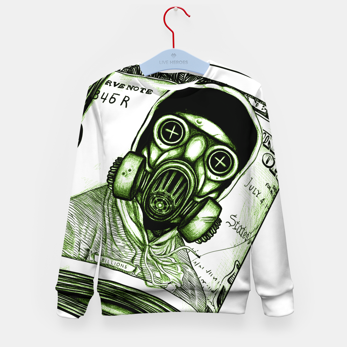 Foto Gas Mask Dollar Kid's sweater - Live Heroes