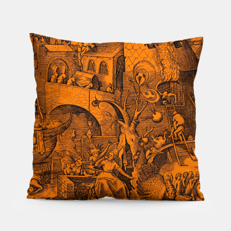 Brueghel-The Seven Virtues (Envy) Pillow obraz miniatury