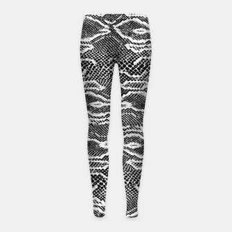 Snake Skin Black and White Girl's leggings obraz miniatury
