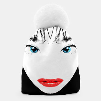 Thumbnail image of Cartoon Style Asian Woman Close Up Portrait Illustration Beanie, Live Heroes
