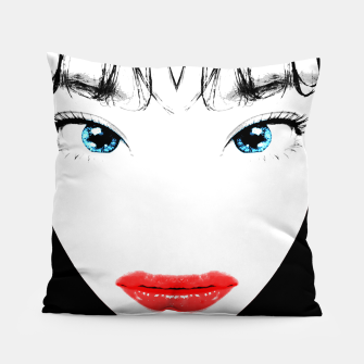 Thumbnail image of Cartoon Style Asian Woman Close Up Portrait Illustration Pillow, Live Heroes