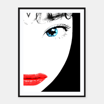 Cartoon Style Asian Woman Close Up Portrait Illustration Framed poster miniature