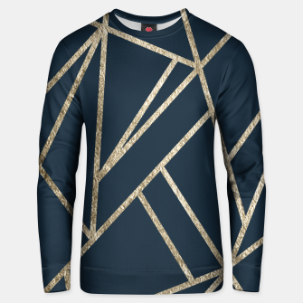 Classic Dark Blue Gold Geo #1 #geometric #decor #art Unisex sweatshirt obraz miniatury