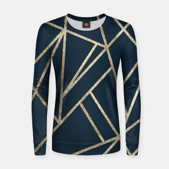 Classic Dark Blue Gold Geo #1 #geometric #decor #art Frauen sweatshirt obraz miniatury