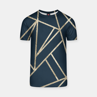 Classic Dark Blue Gold Geo #1 #geometric #decor #art T-Shirt obraz miniatury