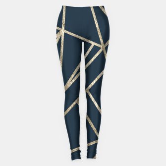Classic Dark Blue Gold Geo #1 #geometric #decor #art Leggings obraz miniatury
