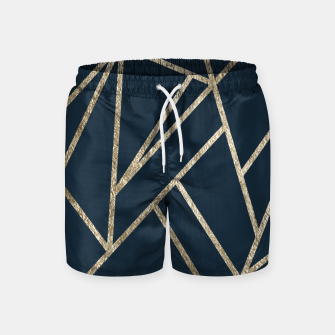 Classic Dark Blue Gold Geo #1 #geometric #decor #art Badeshorts obraz miniatury
