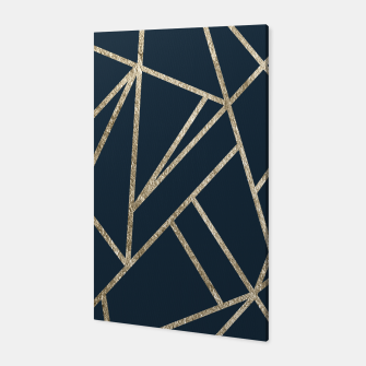Classic Dark Blue Gold Geo #1 #geometric #decor #art Canvas obraz miniatury