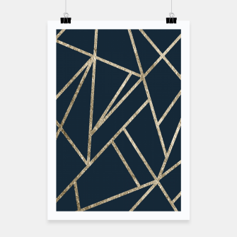 Miniatur Classic Dark Blue Gold Geo #1 #geometric #decor #art Plakat, Live Heroes