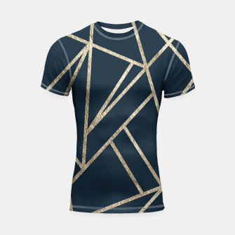 Classic Dark Blue Gold Geo #1 #geometric #decor #art Shortsleeve rashguard obraz miniatury