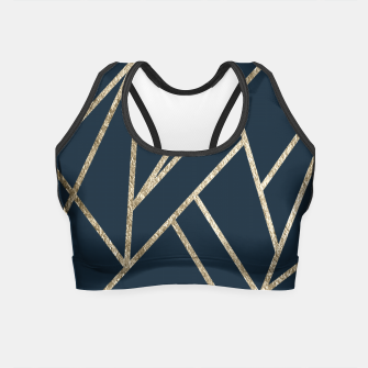 Classic Dark Blue Gold Geo #1 #geometric #decor #art Crop Top obraz miniatury