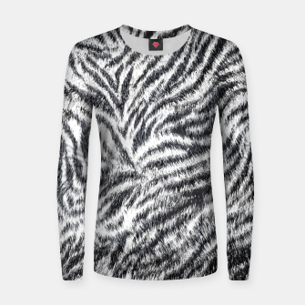 Miniatur White Bengal Tiger Fur Wildlife Print Pattern Women sweater, Live Heroes