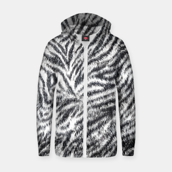 Miniatur White Bengal Tiger Fur Wildlife Print Pattern Zip up hoodie, Live Heroes