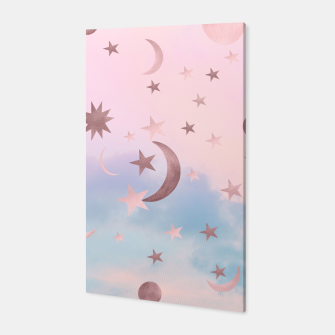 Thumbnail image of Pastel Starry Sky Moon Dream #2 #decor #art Canvas, Live Heroes