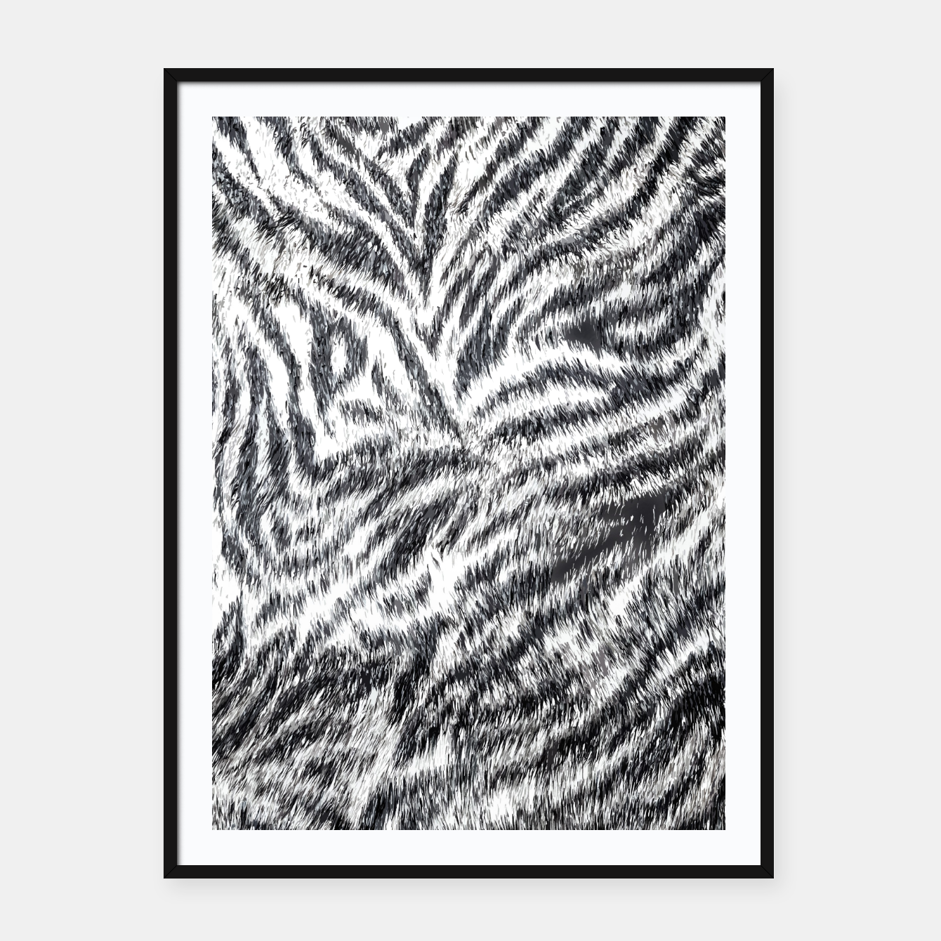 Image of White Bengal Tiger Fur Wildlife Print Pattern Framed poster - Live Heroes