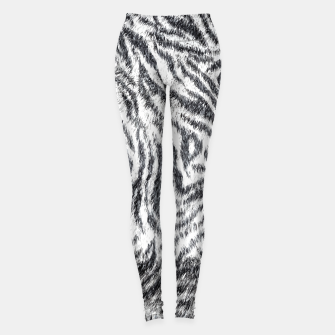 White Bengal Tiger Fur Wildlife Print Pattern Leggings Bild der Miniatur