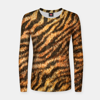 Miniatur Bengal Tiger Fur Wildlife Print Pattern Women sweater, Live Heroes