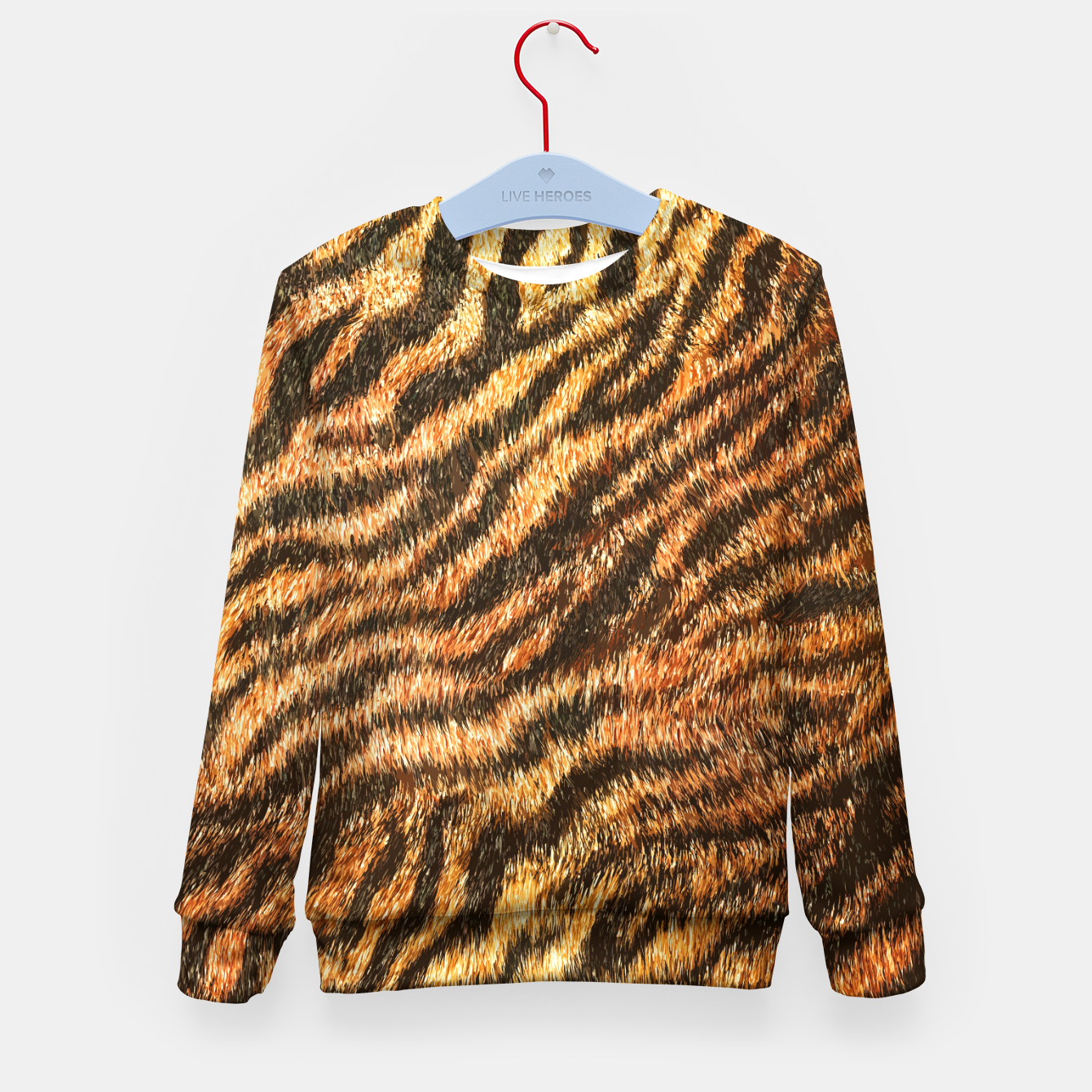 Image of Bengal Tiger Fur Wildlife Print Pattern Kid's sweater - Live Heroes