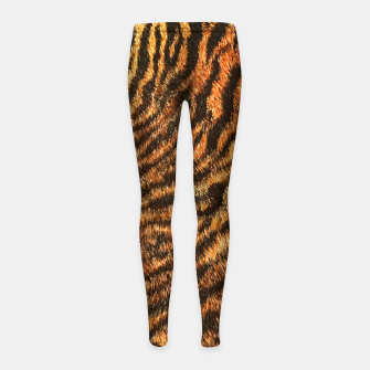 Miniatur Bengal Tiger Fur Wildlife Print Pattern Girl's leggings, Live Heroes