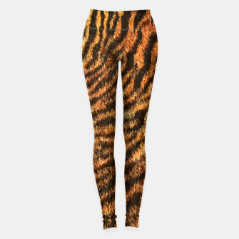 Miniatur Bengal Tiger Fur Wildlife Print Pattern Leggings, Live Heroes