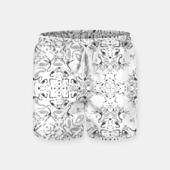 Black and White Decorative Ornate Pattern Swim Shorts miniature