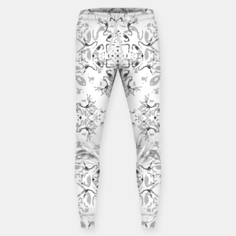 Black and White Decorative Ornate Pattern Sweatpants miniature