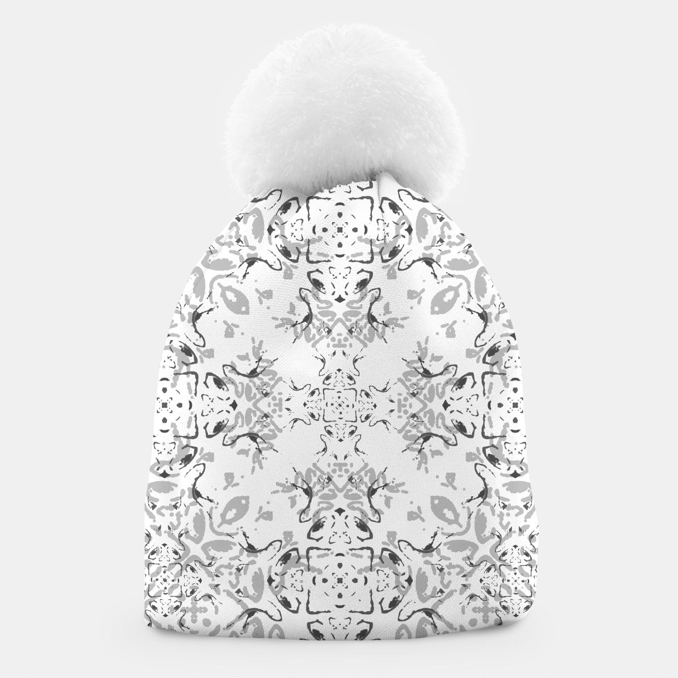 Image de Black and White Decorative Ornate Pattern Beanie - Live Heroes