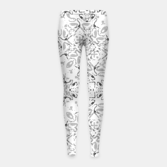 Black and White Decorative Ornate Pattern Girl's leggings miniature