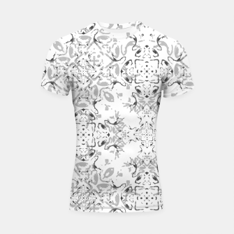 Black and White Decorative Ornate Pattern Shortsleeve rashguard miniature