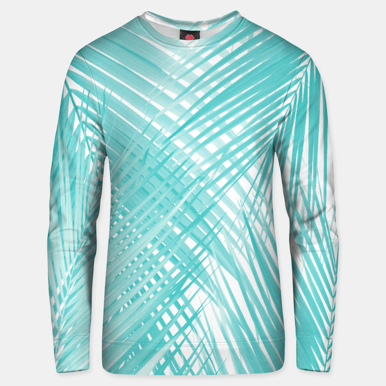 Image of Soft Turquoise Palm Leaves Dream - Cali Summer Vibes #3 #tropical #decor #art Unisex sweatshirt - Live Heroes