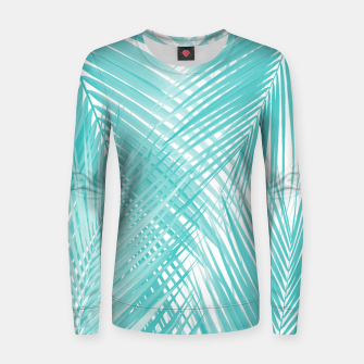 Miniature de image de Soft Turquoise Palm Leaves Dream - Cali Summer Vibes #3 #tropical #decor #art Frauen sweatshirt, Live Heroes