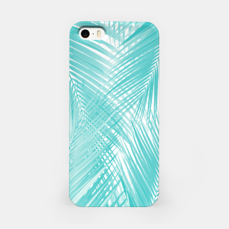 Soft Turquoise Palm Leaves Dream - Cali Summer Vibes #3 #tropical #decor #art iPhone-Hülle miniature