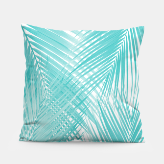 Soft Turquoise Palm Leaves Dream - Cali Summer Vibes #3 #tropical #decor #art Kissen miniature